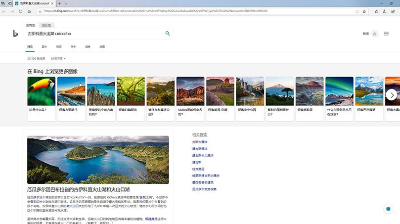 Edge浏览器必应搜索图片_图例